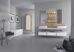 Domino 03, Möbel für das Bad mit zwei Waschbecken, Betonfertig