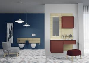 Domino 07, Badezimmermöbel, hell gefärbt, mit Spiegel