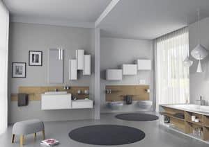 Domino 09, Badezimmermöbel, mit lackierten Wandeinheiten