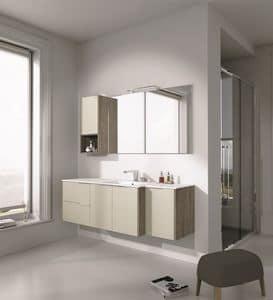Singoli S 27, Badezimmermöbel mit Waschbecken und Schränke