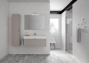 Basic comp.06, Badezimmer-Schrank mit Keramik-Waschbecken, mit hängenden Säule