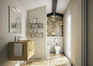 Dressy comp.04, Matte-Senf-Badezimmerschrank mit Glaswaschbecken