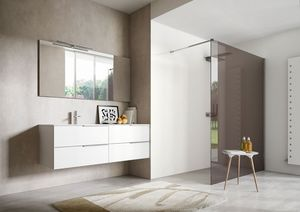 My time comp.03, Weiß lackierter Badezimmerschrank mit zwei integrierten Waschtischen