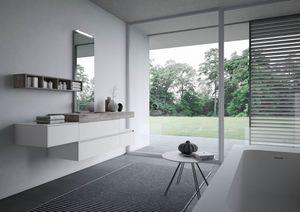 Nyù comp.13, Badezimmerschrank mit laminiertem Waschbecken