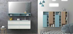 Torana TR 021, Weißer Badezimmerschrank mit blauen Details, integrierte Spüle in der Spitze