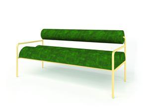Aliko, Gepolstertes kleines Sofa aus Eisenrohr