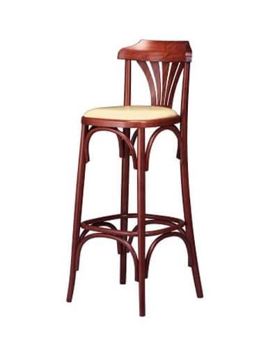 119, Retro-Stuhl, in gebogenem Holz, mit gepolstertem Sitz