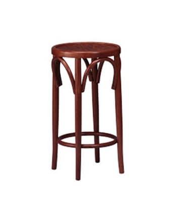 125, Hocker mit runder Sitzfläche, gebogene Holzkomponenten