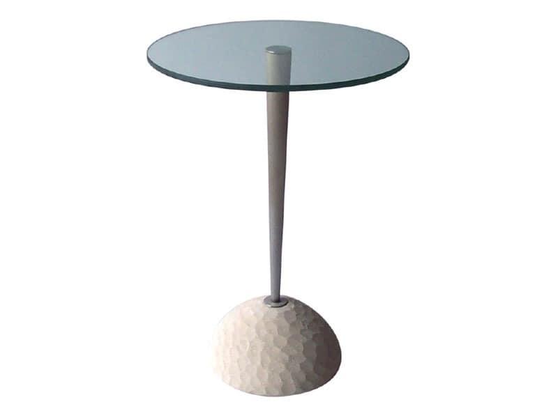 Egon, Runder Tisch aus Stein und Glas, für Bars und Restaurants