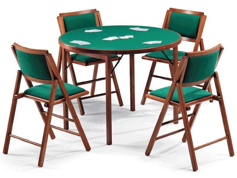 Gioco 111 table, 105IMB chair, Spieltisch mit grünem Tuch, runde Spitze