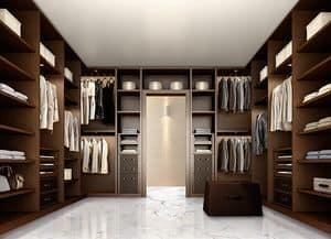 ATLANTE Begehbarer Kleiderschrank comp.10, Elegante begehbaren Kleiderschrank für Schlafzimmer, aus dunklem Nussbaum
