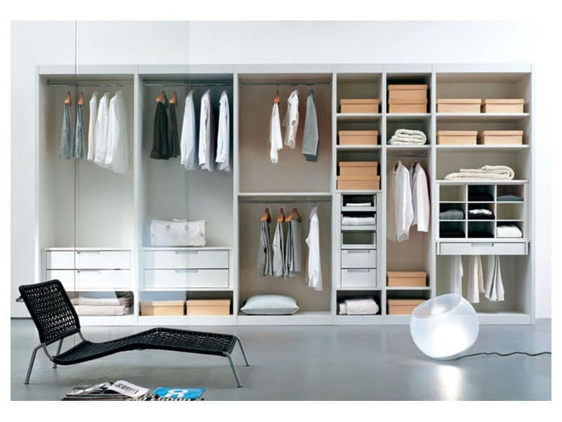 ATLANTE Begehbarer Kleiderschrank comp.02, Begehbarer Kleiderschrank mit Regalen und Glastüren