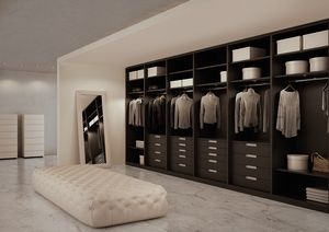 ATLANTE Begehbarer Kleiderschrank comp.07, Kleiderschrank in Eiche grau, kundengerecht Maßnahmen