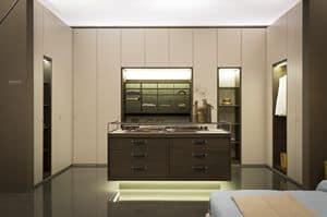 VENICE comp.01, Elegante begehbaren Kleiderschrank, Gold und Holz aucalipto trim