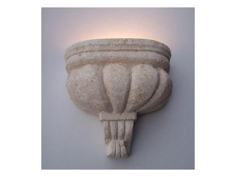 Agata, Applique Lampe in Vicenza weißen Stein, Glühlampenlicht