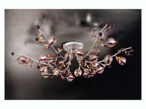 Ametista ceiling lamp, Moderne Deckenleuchte in Schmiedeeisen im naturalistischen Stil