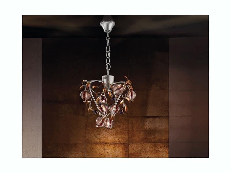 Ametista hanging lamp, Chandelier Platin farbige Oberfläche, geblasen Knistern Glas