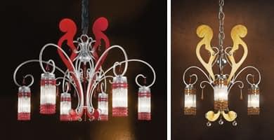 Casanova chandelier, Kronleuchter aus Schmiedeeisen und lackiert antikes Silber