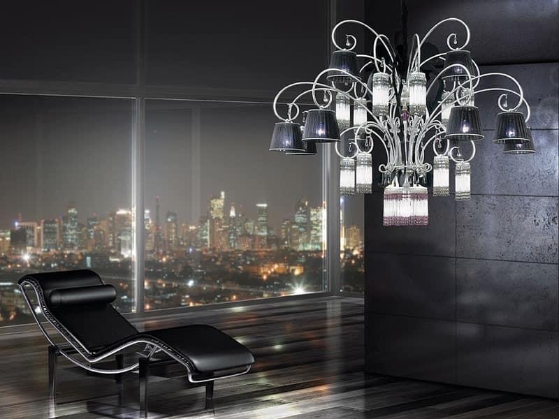 Casinò chandelier, Modernen Kronleuchter mit 25 Lichtern, Diffusoren in Organza