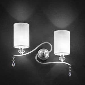 Delhia applique, Metall-Wandleuchte mit 2 Leuchten und sw-Anhänger