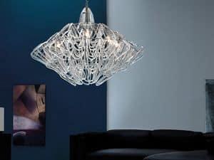 Diamante Kronleuchter, Hängeleuchte in der Höhe verstellbar, aus Murano-Glas