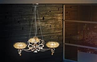 Dream chandelier, Leuchte mit Diffusoren in Organza und Swarovsky Strass