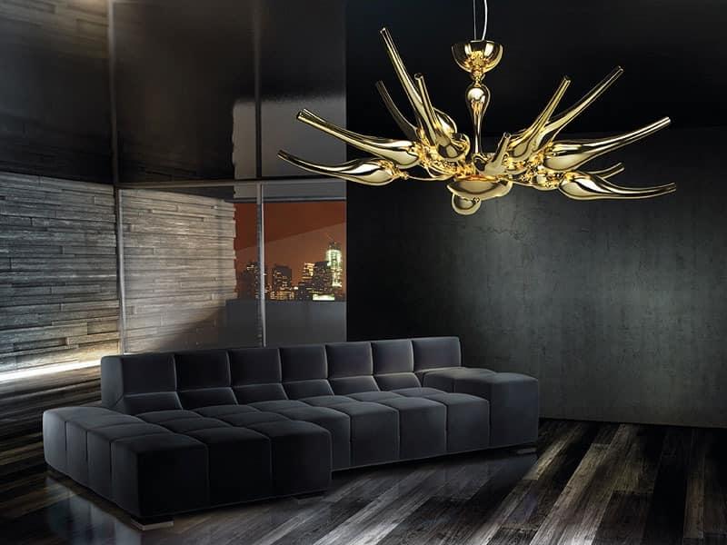Ego chandelier, Kronleuchter aus Messing mit mundgeblasenem Glas Diffusoren