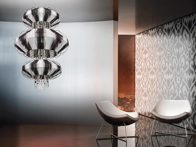 Full Moon chandelier, Kronleuchter mit Swarovski Anhänger und Kristallperlen