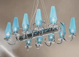 Karma chandelier, Kronleuchter mit verchromtem Metall und Messingrahmen