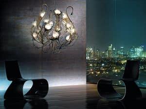 Musa chandelier, Metall-Lüster, Diffusoren aus Murano-Glas