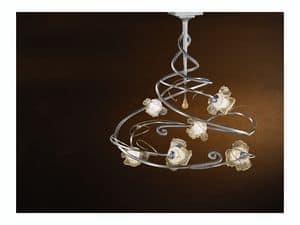 Rose ceiling lamp, Modernen Kronleuchter mit 6 Leuchten und zentralen Glas-Anh�nger