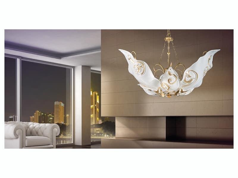 Sirio hanging light, Kronleuchter mit Diffusoren aus Murano-Glas mit Blatt dekoriert