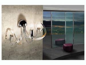 Vanity applique, Wandlampe aus Messing, Drahtglasdiffusoren