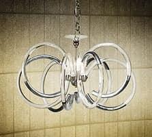 Vogue chandelier, Pendelleuchte aus Messing mit Glasdiffusoren