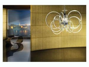Vogue chandelier, Pendelleuchte aus Messing mit Glasdiffusoren