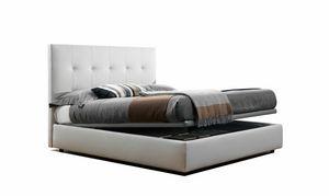 VANITY, Bett mit Container, gepolstert aus Kunstleder