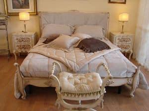 Abbon, Klassisches Bett für Hotelzimmer, im Stil Louis XV