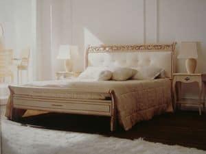 Art. 1800, Doppelbett, klassisch, geschnitzt, für Schlafzimmer