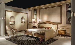 LE22K Arts gepolsterten Bett, Klassisches Doppelbett mit gepolstertem Kopfteil