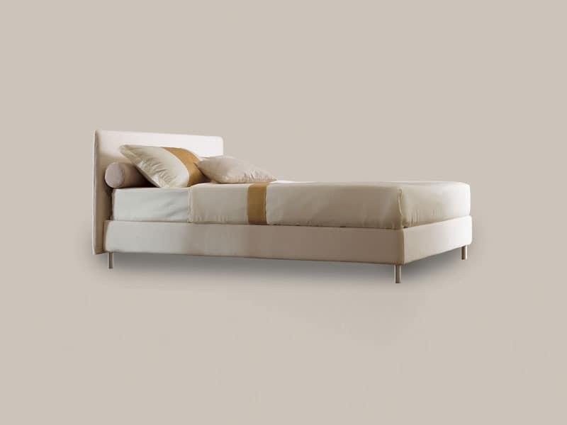 Astro, Einzelbett mit Holzgestell, Aluminiumfüße