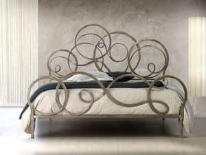 Azzurra, Schmiedeeisernen Betten, mit Schriftrollen, für Classic-Zimmer