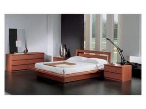 Bedroom 49, Bett mit Behälter, in Holz Kirschende, für zeitgenössische Schlafzimmer