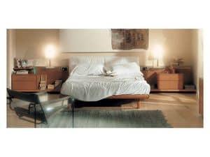 Bedroom 93, Mit gepolstertem Kopfteil, hölzerne Struktur in Kirschbaum, Gleitregalen Bett