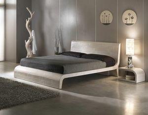 Bett Wave, Bett im Ethno-Stil mit Kopfteil aus Holz