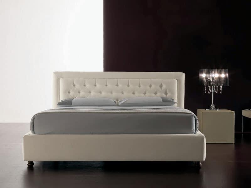 Classic, Moderne Bett mit Polyurethan gepolstert, gesteppten Kopfteil