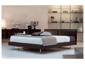 Deex, Moderne Bett mit Kopfteil aus Leder, orthopädische Holzlatten