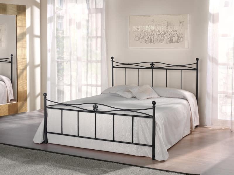 Double bed Albatros, Bed in Eisenrohr mit floralen Dekorationen, Retro-Design