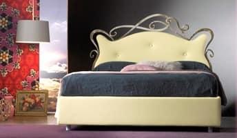 Florenzia, Doppelbett aus Schmiedeeisen, Lederbezug