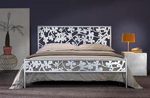 Flower Doppelbett, Bügeleisen Doppelbett mit Blumenlasergeschnittenen Dekorationen