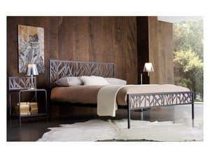 Green Doppelbett, Metall-Doppelbett mit abstrakten Motiven